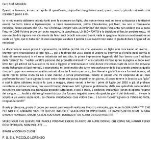 feconazione lettera lorenzo testo